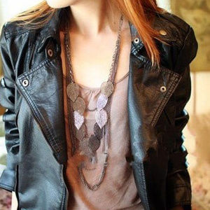 Light Leaf Multi-Layer Long Necklace jewelry